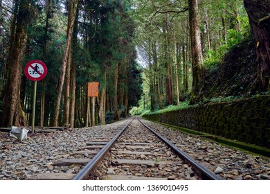 Alishan, Taiwan, December 6, 2018: Railroad scenics from Alishan forest railway station for go to Chaoping station in Alishan, Taiwan.
