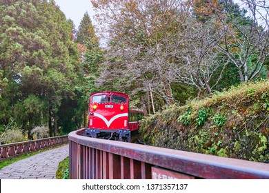 Alishan, Taiwan, December 6, 2018: Train ride from Alishan forest railway station to go around the forest in Alishan, Taiwan.