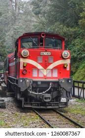 ALISHAN,TAIWAN - 12 MAR 2017:Alishan Train at Sacred tree station in Alishan National Scenic Area,Taiwan