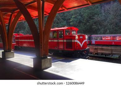ALISHAN,TAIWAN - 13 MAR 2017:Alishan Train at Alishan Railway Station  in Alishan National Scenic Area,Taiwan