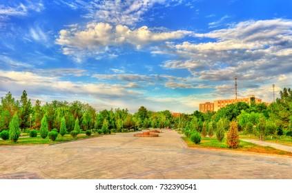 Alisher Navai Garden Square in Navoi city. Uzbekistan, Central Asia