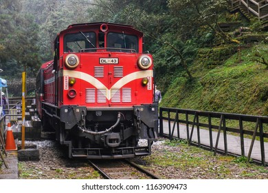 ALISHSN,TAIWAN - 12 MAR 2017:Alishan Train at Sacred tree station in Alishan National Scenic Area,Taiwan