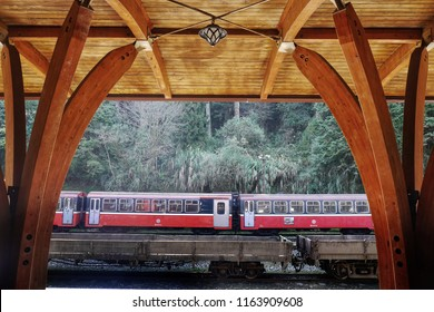 ALISHSN,TAIWAN - 13 MAR 2017:Alishan Train at Alishan Railway Station in Alishan National Scenic Area,Taiwan