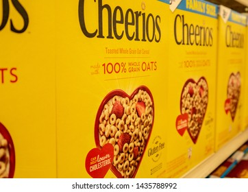 Aliso Viejo, CA / USA - 06/26/2019: Boxes of Cheerios on a Local Grocery Store Shelf