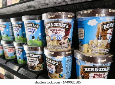 Aliso Viejo, CA / USA - 07/11/2019: Ben & Jerry's Ice Cream on the Shelf of a Local Grocery Store