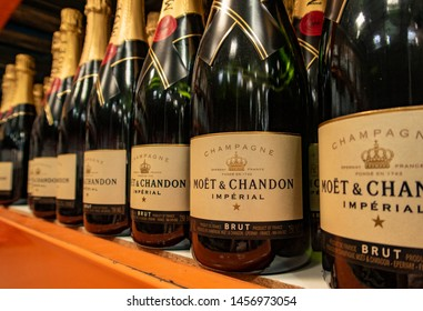 Aliso Viejo, CA / USA - 07/20/2019: Moet & Chandon Champagne on the Shelf of a Costco Store