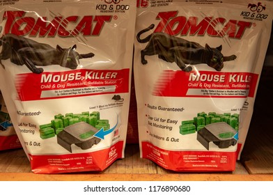 Aliso Viejo, CA / USA - 09/10/2018: Tomcat Mouse Killer on Display in a Home Depot Store