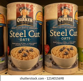 Aliso Viejo, CA / USA - 10/27/2018: Quaker Steel Cut Oats on Display at a Local Grocery Store