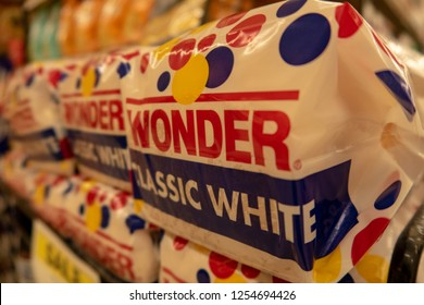 Aliso Viejo, CA / USA - 12/05/2018: Wonder Bread on Display at a Local Grocery Store