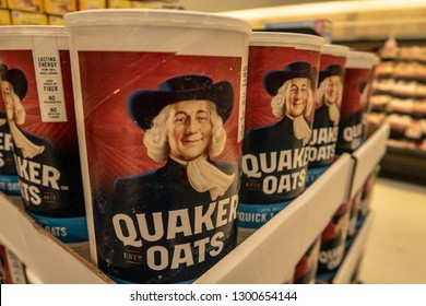 Aliso Viejo, CA / USA - 1/30/2019: Quaker Oats Cereal on Display at a Local Grocery Store