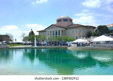 ALISO VIEJO, CALIFORNIA, MAY 4, 2019: Founders Hall at Soka University during the 18th Annual International Festival.