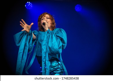 Alison Goldfrapp singer from Goldfrapp, live at standon calling festival uk, 29th july 2018