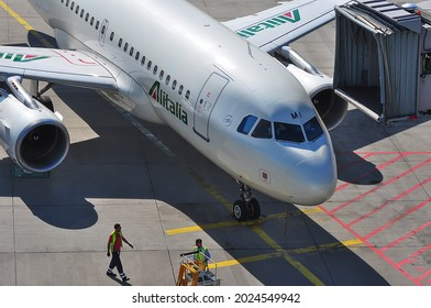ALITALIA Aircraft in the Frankfurt airport on September 08,2016 in Frankfurt,Germany.