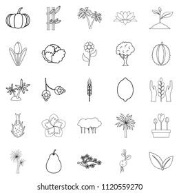 Alive world icons set. Outline set of 25 alive world icons for web isolated on white background