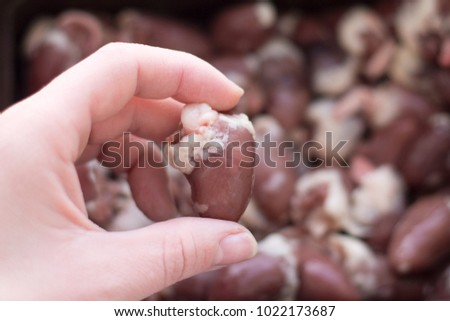 Aliveraw Chicken Heart Hand On Background Stock Photo Edit Now