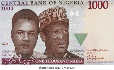 Aliyu Mai-Bornu and Clement Isong portrait on Nigerian 1000 naira (2016) banknote closeup macro, the first and second indigenous Governors of the Central Bank of Nigeria.