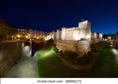 Aljaferia Castle in Zaragoza, Aragon, Spain.