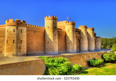 Aljaferia, a fortified medieval Islamic palace in Zaragoza - Spain