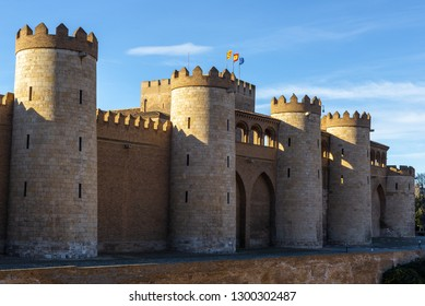 Aljaferia Palace, a fortified medieval Islamic palace in Zaragoza city. Aragon, Spain