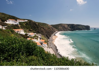 Aljezur, Portugal - April 27, 2018: Elevated view of the Arrifana Beach in Aljezur, Algarve, Portugal. The beach of Praia da Arrifana is inside the Vicentine Coast Natural Park.
