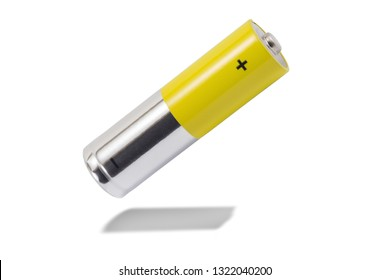 alkaline batteries and a yellow metal AA-size batteries isolated on white background closeup, carbon zinc batteries, rechargeable batteries, mockup
