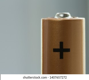 Alkaline battery close up. Alkaline battery AAA close up.  The upper part of the battery