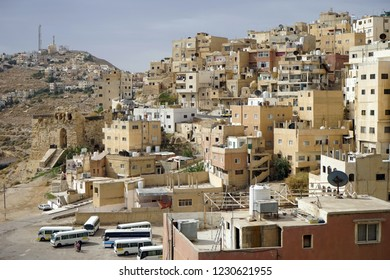 AL-KARAK, JORDAN - CIRCA NOVEMBER 2018 Houses on the hill in the center of town and bus station