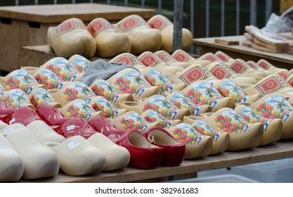 ALKMAAR, HOLLAND, THE NETHERLANDS - SEPTEMBER 5, 2014: Wooden Dutch Clogs For Sale In Alkmaar cheese market