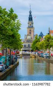 ALKMAAR, NETHERLAND; JULY 2018 The cityscape blue sky in Alkmaar with Waagplein the signature of Alkmaar