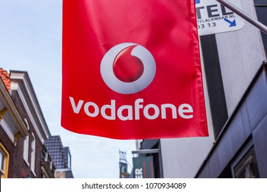 Alkmaar, Netherlands 04.03.2018: Vodafone logo. Vodafone Group is a British telecommunications company with headquartered in the United Kingdom.Vodafone ranked second by number of connections in 2016.