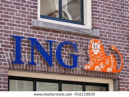 ALKMAAR, THE NETHERLANDS, 2 JULY, 2016: Blue logo with orange lion of the Dutch ING Bank on jjuly 2,2016, in Alkmaar Holland
