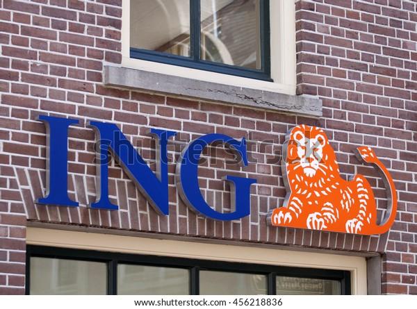ALKMAAR, THE NETHERLANDS, 2 JULY, 2016: Blue logo with orange lion of the Dutch ING Bank on jjuly 2,2016, in Alkmaar Holland