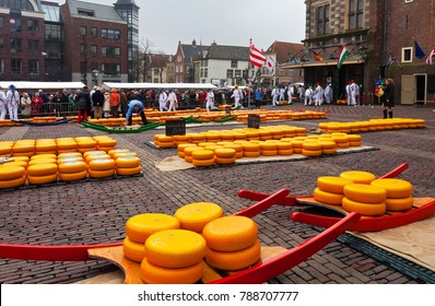 ALKMAAR, NETHERLANDS - April 11, 2013: The famous Friday Cheese Market in the Waagplein square with yellow rows of traditional Dutch cheeses near the old Weighing house