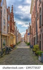 Alkmaar, the Netherlands - April 12, 2019: View from the streets of Alkmaar