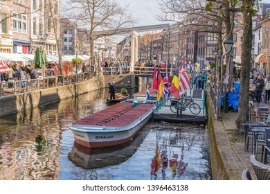 Alkmaar, the Netherlands - April 12, 2019:  Kaasmarkt and canals in the Dutch town of Alkmaar, the city with its famous cheese market