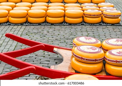 ALKMAAR, THE NETHERLANDS - APRIL 22, 2016: Traditional Dutch cheese market in Alkmaar, one of the country's most popular tourist attractions.