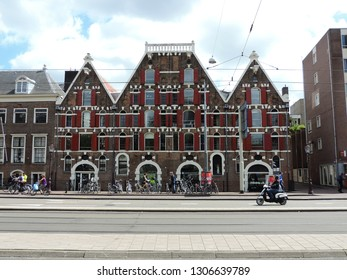 Alkmaar, the Netherlands - August 03, 2017: View on slanting Canal Houses on Rokin Street in Amsterdam, Holland, Netherlands