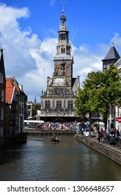 Alkmaar, the Netherlands - August 04, 2017: Kaasmarkt and canals in the Dutch town of Alkmaar, the city with its famous cheese market - Travelling through Holland, Netherlandshttps://submit.shutters