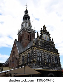 Alkmaar, the Netherlands - August 04, 2017: Historic building of the Kaasmarkt in the Dutch town of Alkmaar, the city with its famous cheese market - Travelling through Holland, Netherlands
