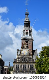 Alkmaar, the Netherlands - August 04, 2017: Kaasmarkt and canals in the Dutch town of Alkmaar, the city with its famous cheese market - Travelling through Holland, the Netherlands