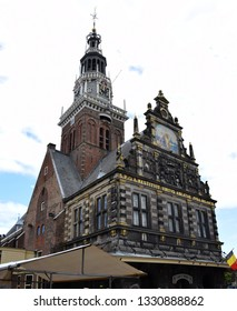 Alkmaar, the Netherlands - August 04, 2017: Historic building of the Kaasmarkt in the Dutch town of Alkmaar, the city with its famous cheese market - Travelling through Holland, the Netherlands