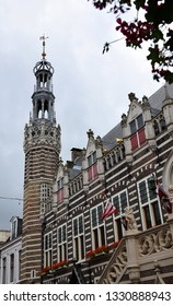 Alkmaar, the Netherlands - August 04, 2017: Historic buildings in the Dutch town of Alkmaar, the city with its famous cheese market - Travelling through Holland, the Netherlands