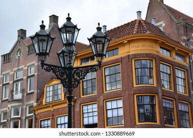 Alkmaar, the Netherlands - August 04, 2017: Historic building in the Dutch town of  Alkmaar, the city with its famous cheese market - Travelling through Holland, Netherlands
