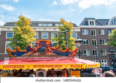 ALKMAAR, NETHERLANDS - AUGUST 16, 2019: Dutch pancakes and waffles stand at the traditional cheese market in Alkmaar