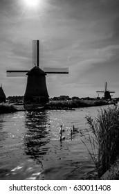 ALKMAAR, THE NETHERLANDS - AUGUST 25, 2013: Traditional Dutch windmills along the quay in Oudorp, Alkmaar (the Netherlands), built between 1627-1630.