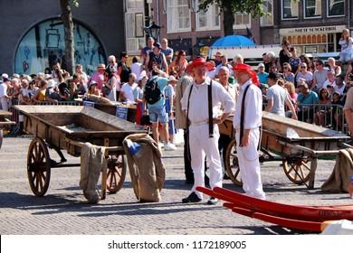 Alkmaar, Netherlands - August 3. 2018 - Famous cheese market in Alkmaar