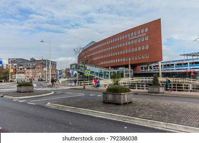 Alkmaar, Netherlands - January 5, 2017: A view of the Town hall or Stadskantoor in the center of Alkmaar, Netherlands. The beautiful modern building serves as a city hall office for this town.