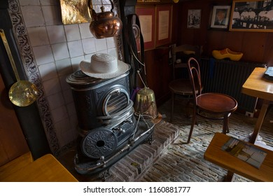 Alkmaar, Netherlands - July 20, 2018: Traditional vintage style room of the cheese carriers in the Waag building at the cheese market in Alkmaar