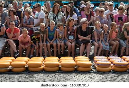 Alkmaar, Netherlands - July 20, 2018: Public watching the event of the friday cheese market in Alkmaar