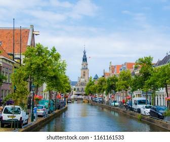 ALKMAAR, NETHERLANDS; JULY 2018 The cityscape blue sky in Alkmaar with Waagplein the signature of Alkmaar